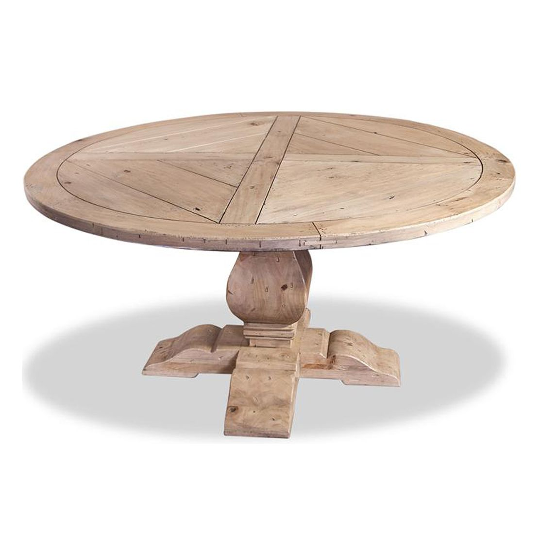 Round Dining Table Ludlum Neoclical Rustic Light Wood 60 D
