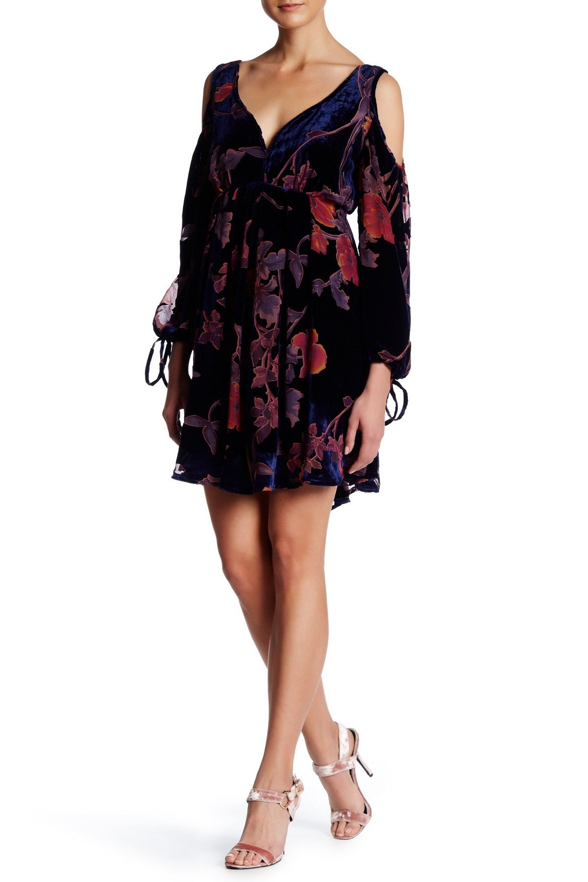 Burnout Velvet Flower Print Cold Shoulder Dress