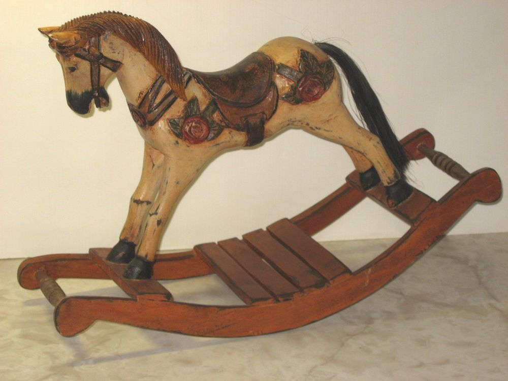 Small Vtg Hand Carved Wooden Rocking Horse Décor 23 Long