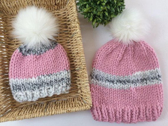 ab61aa23ee1 Adult baby chunky Knit Hat