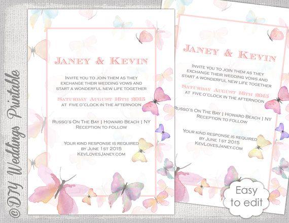 Erfly Invitation Template Printable Wedding Invitations Watercolor Pastel Diy Invite