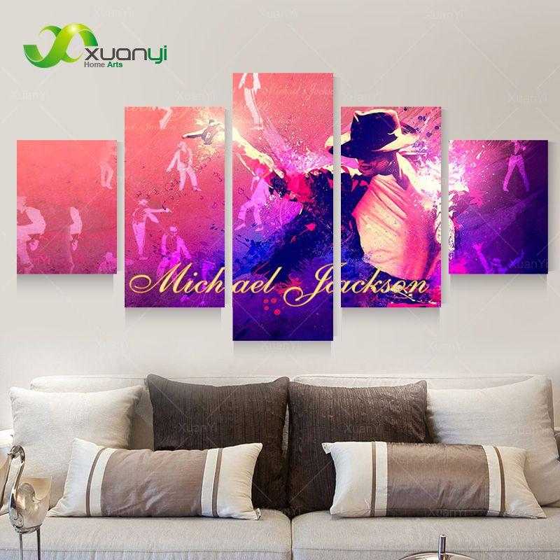 5 Piece Canvas Art Michael Jackson Room Decorations Abstracte Oil ...