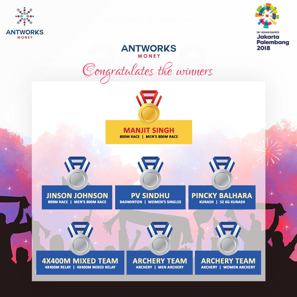 Antworks Money congratulates the winner in Asian Games
