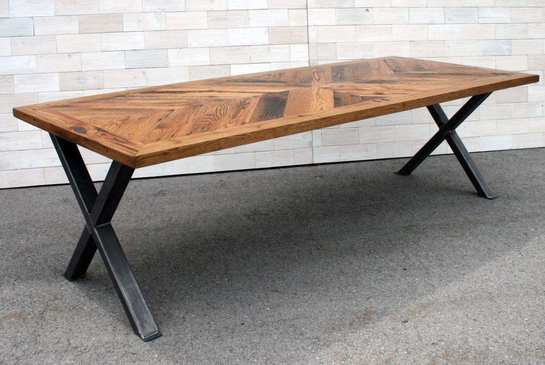 Antique Tobacco Oak Chevron Dinning Cross Leg Table By Lunarcanyon