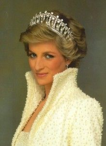 """Lovers Cross Tiara, given to her by the Queen mother, and wearing her  """"Elvis"""" inspired jacket.Diana, Princess of Wales"""