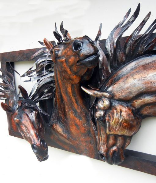 Large Metal Wall Art 3D Bronze Trio of Horses Your Western Decor