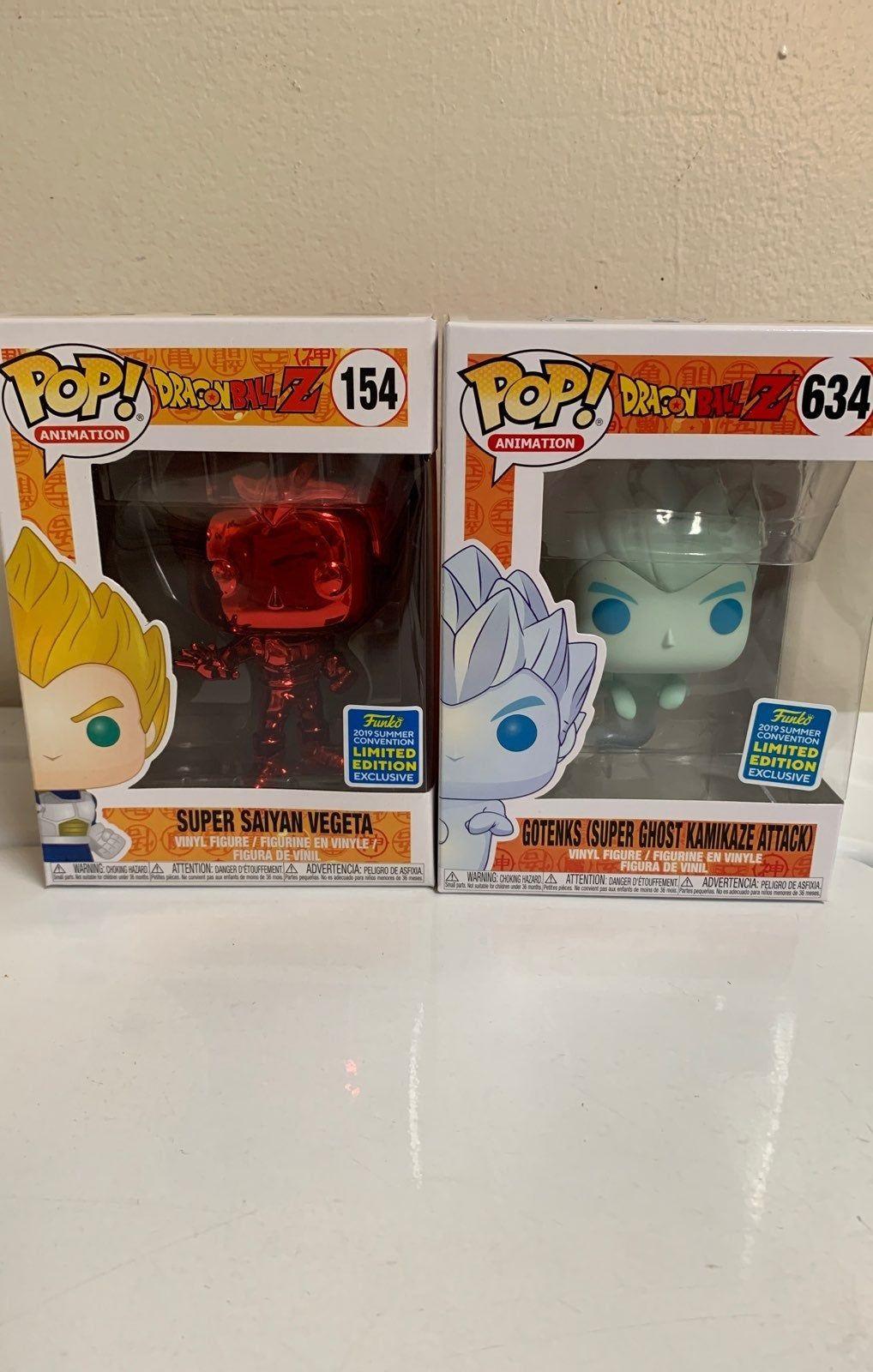 Sdcc Exclusive Funko Pop Bundle Dragon Ball Gotenks Ghost And Super Saiyan Vegeta Red Chrome Ready To Ship Sold Out Vinyl Figures Funko Super Saiyan Vegeta