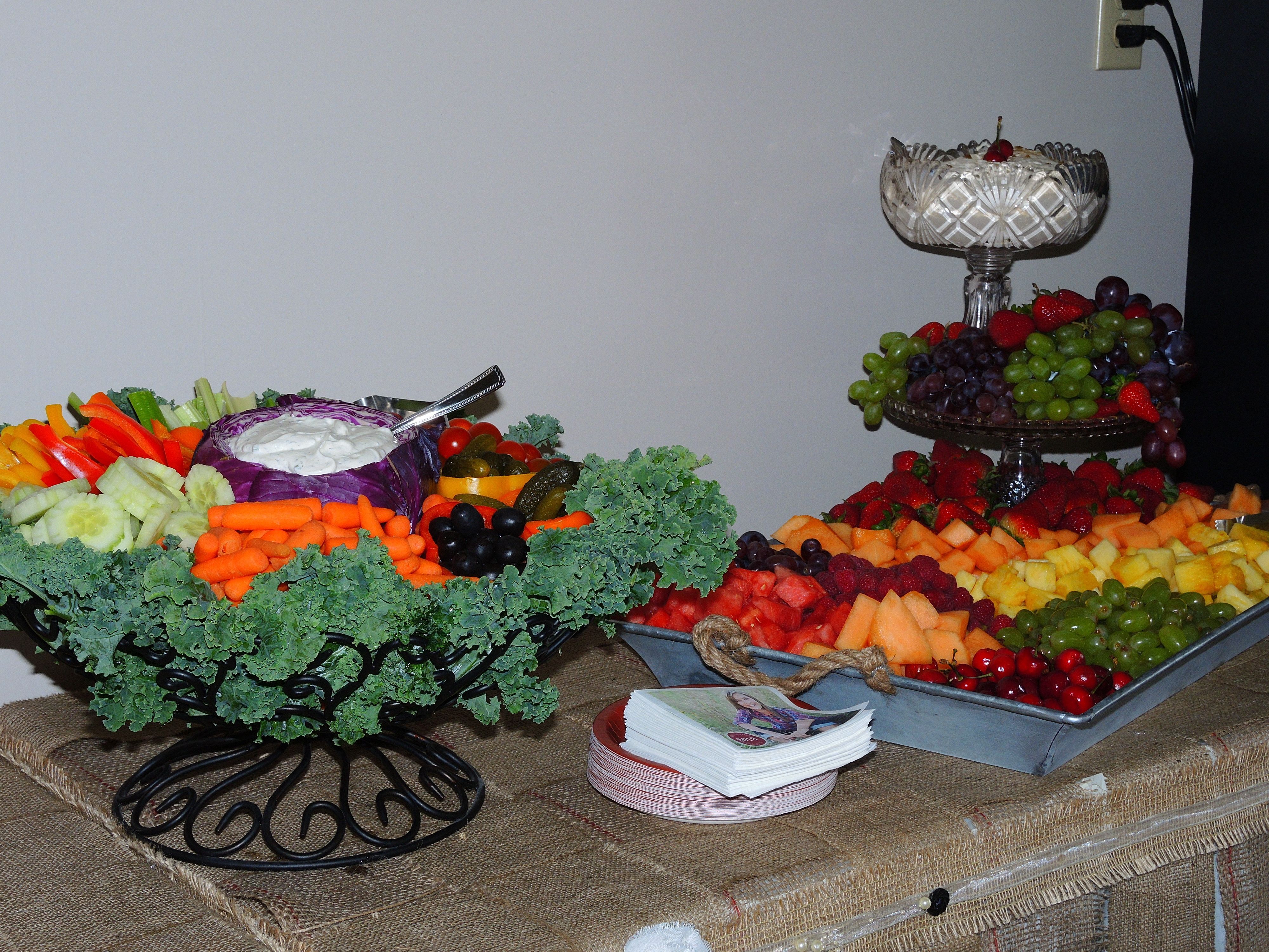 Waterfall Fruit And Veggie Displays: Fruit Tray Display And Vegetable Tray Display