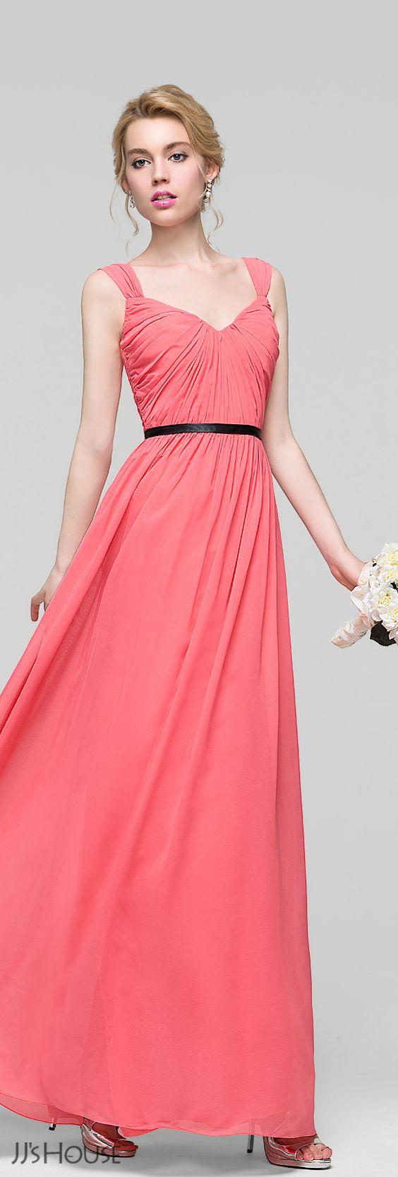 A-Line/Princess Floor-Length Chiffon Bridesmaid Dress With Ruffle ...