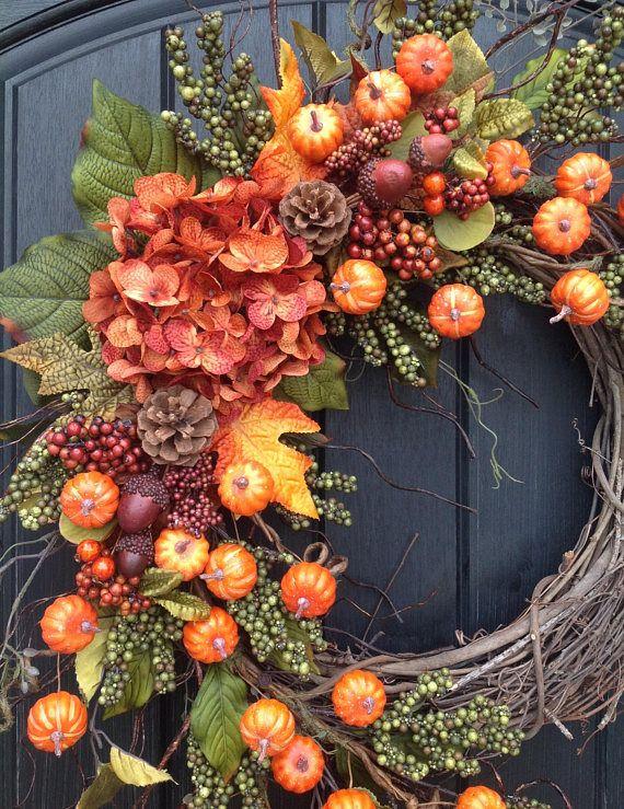 Fall Wreath-Autumn Wreath-Thanksgiving-Orange Berry-Grapevine Fall