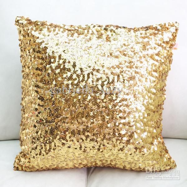 Wholesale Europe Luxurious Sequin Pillow Cushion Cover Pillow Case Min Order Luxury Home Free Shippin Sequin Throw Pillows Sequin Pillow Metallic Throw Pillow