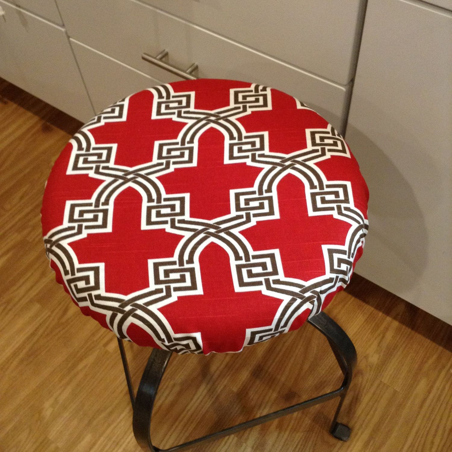 Quatrefoil Print Elasticized Round Barstool Cover Seat Cover Counter Stool Bar Stool Covers Padded Bar Stools Bar Stools