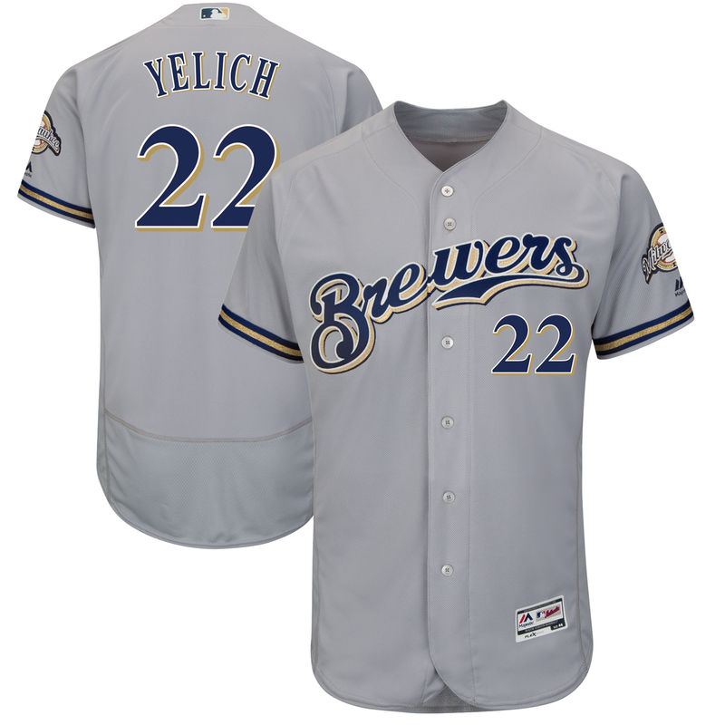 Christian Yelich Milwaukee Brewers Majestic Authentic Collection Flex Base  Player Jersey – Gray 432483800