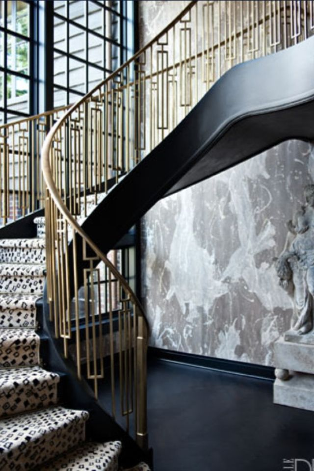 Brass Art Deco Stair Rail With Black Accents Is Pure