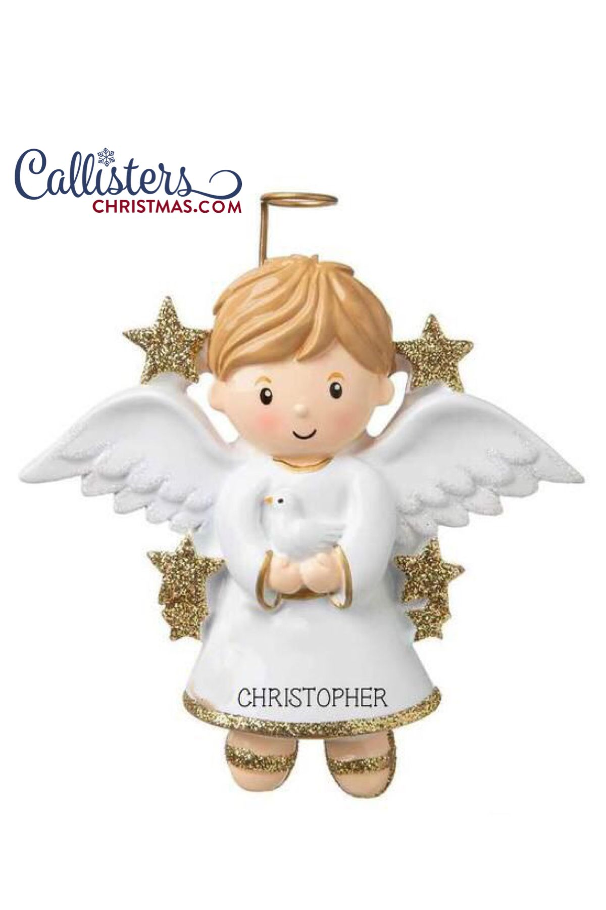 Angel boy with dove ornament confirmation gifts