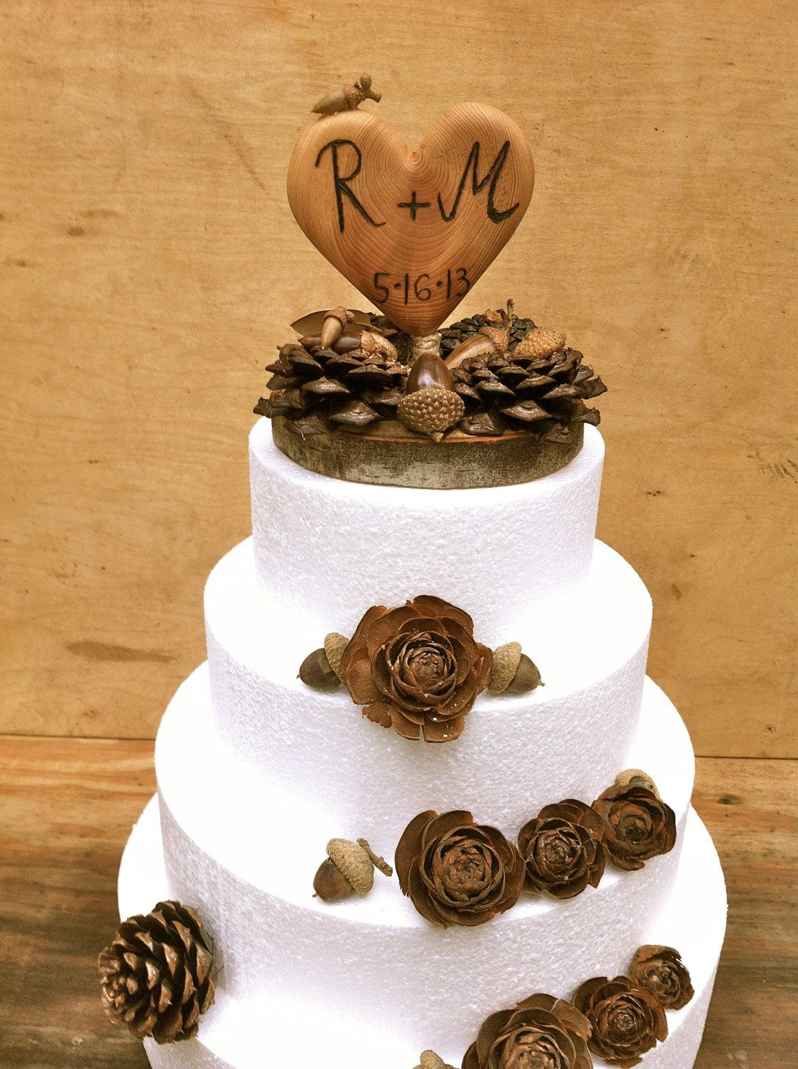 Fall wedding cake topper rustic cake topper wooden heart cake