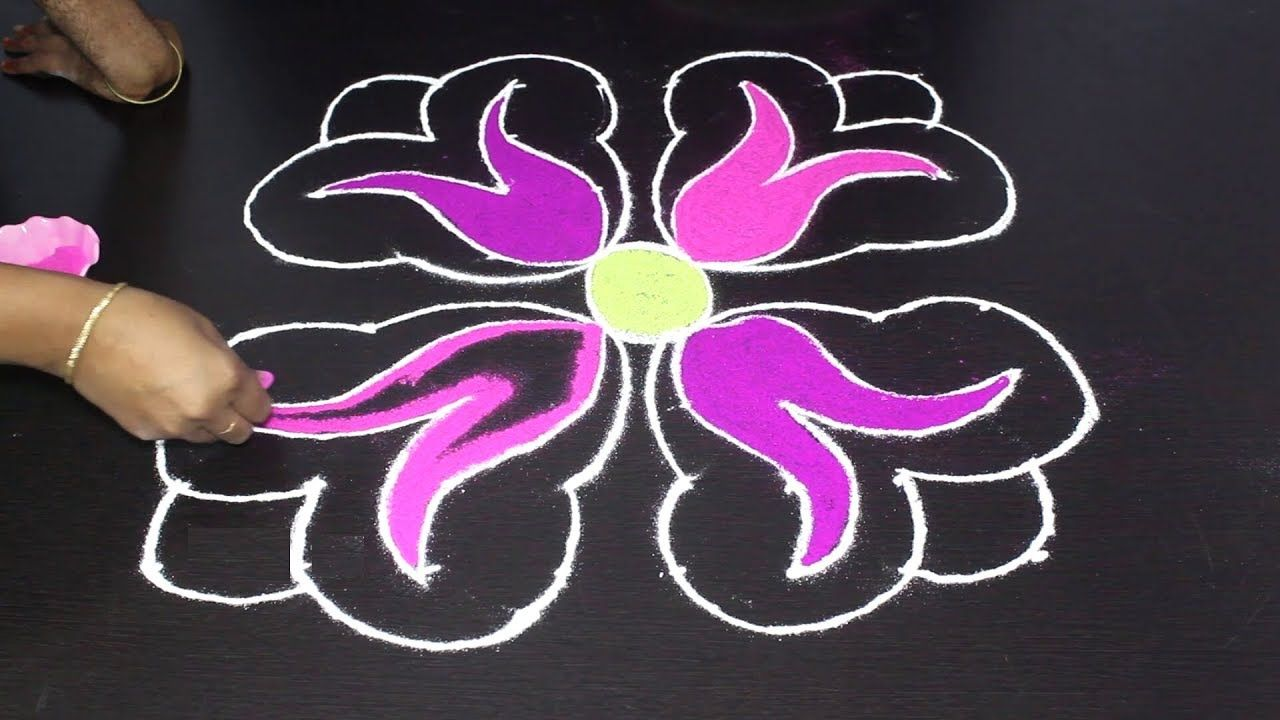 Simple Rangoli Rose Rangoli Designs with 88 dots