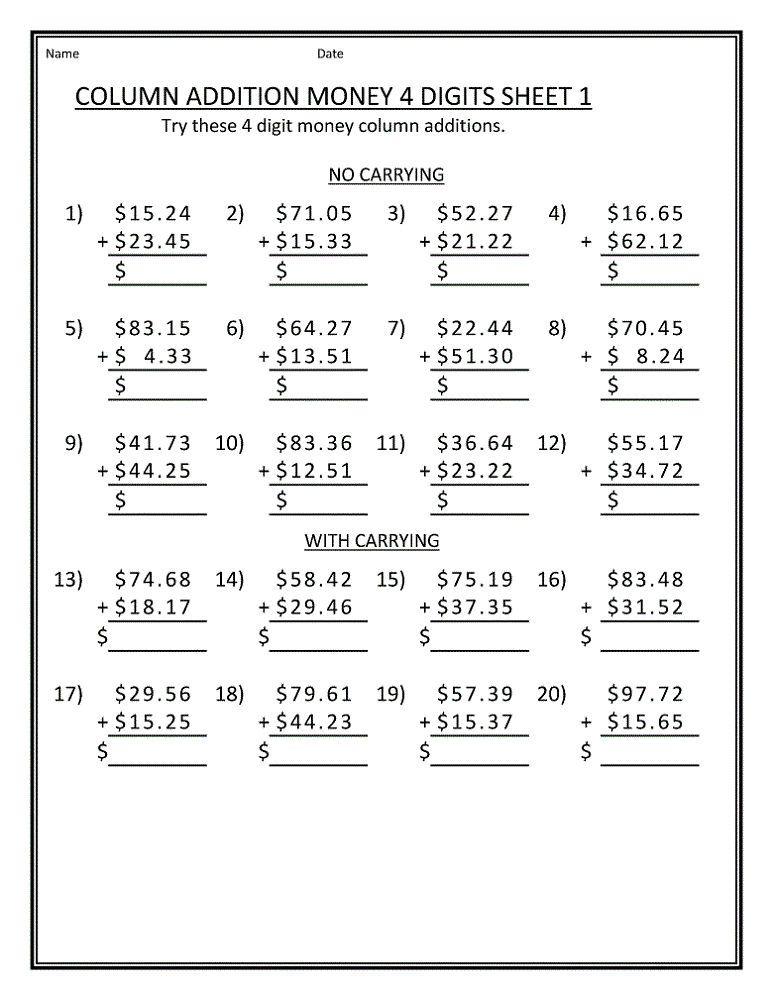 Free Printable Math Worksheets For Grade 4 Money Kids Math