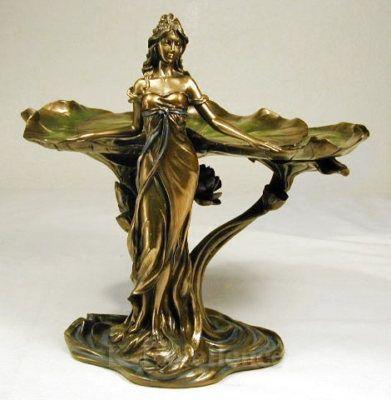 Art Nouveau Lady Lotus Statue Jewelry Dish