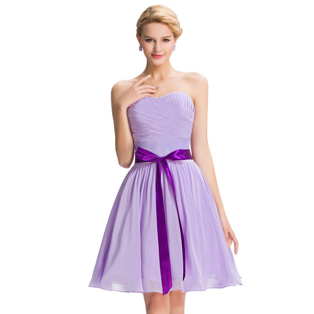 Elegant Strapless Knee Length Chiffon Lilac Bridesmaid Dress ...