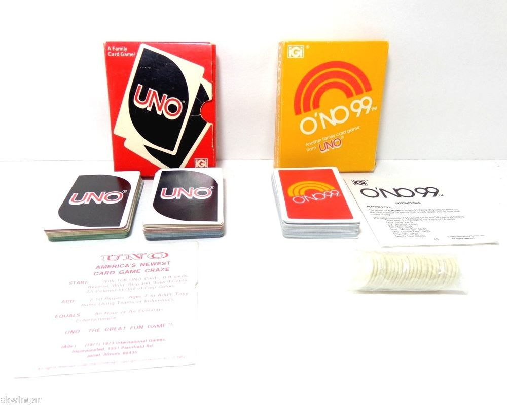 1980 ONO 99 1978 UNO Card Games Vintage Classics COMPLETE INSTRUCTIONS