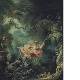 """Fragonard, """"Les Hasards Heureux de l'Escarpolette""""    I know it's Rococo but WHATEVER. It's not the dress but the colour palette and his interpretation of nature that is important in this image."""
