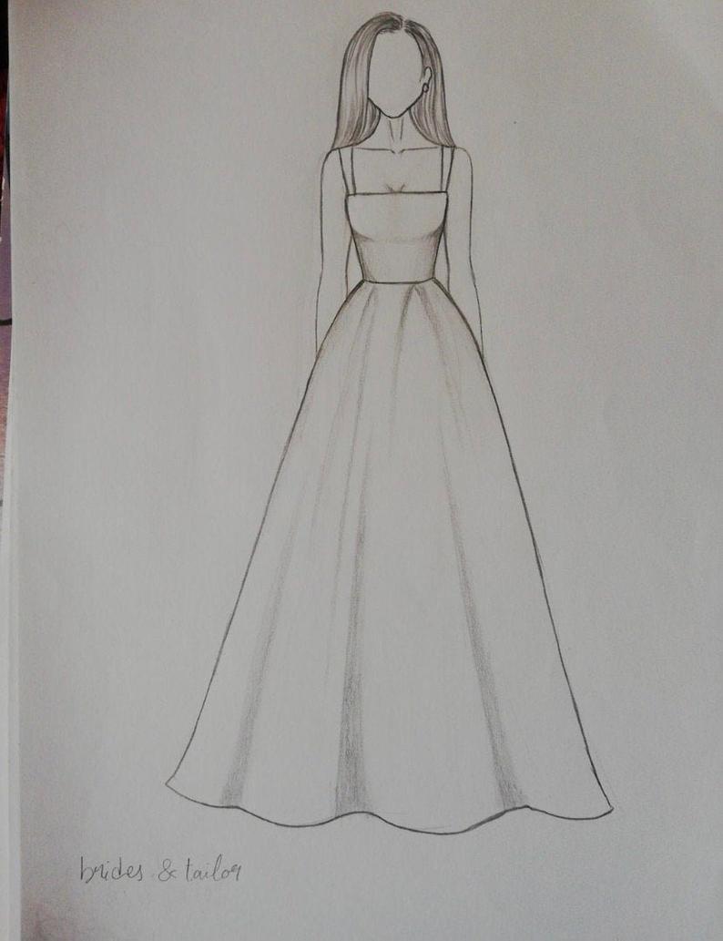Robe de mariée modestes personnalisé -   7 dress Princess draw ideas