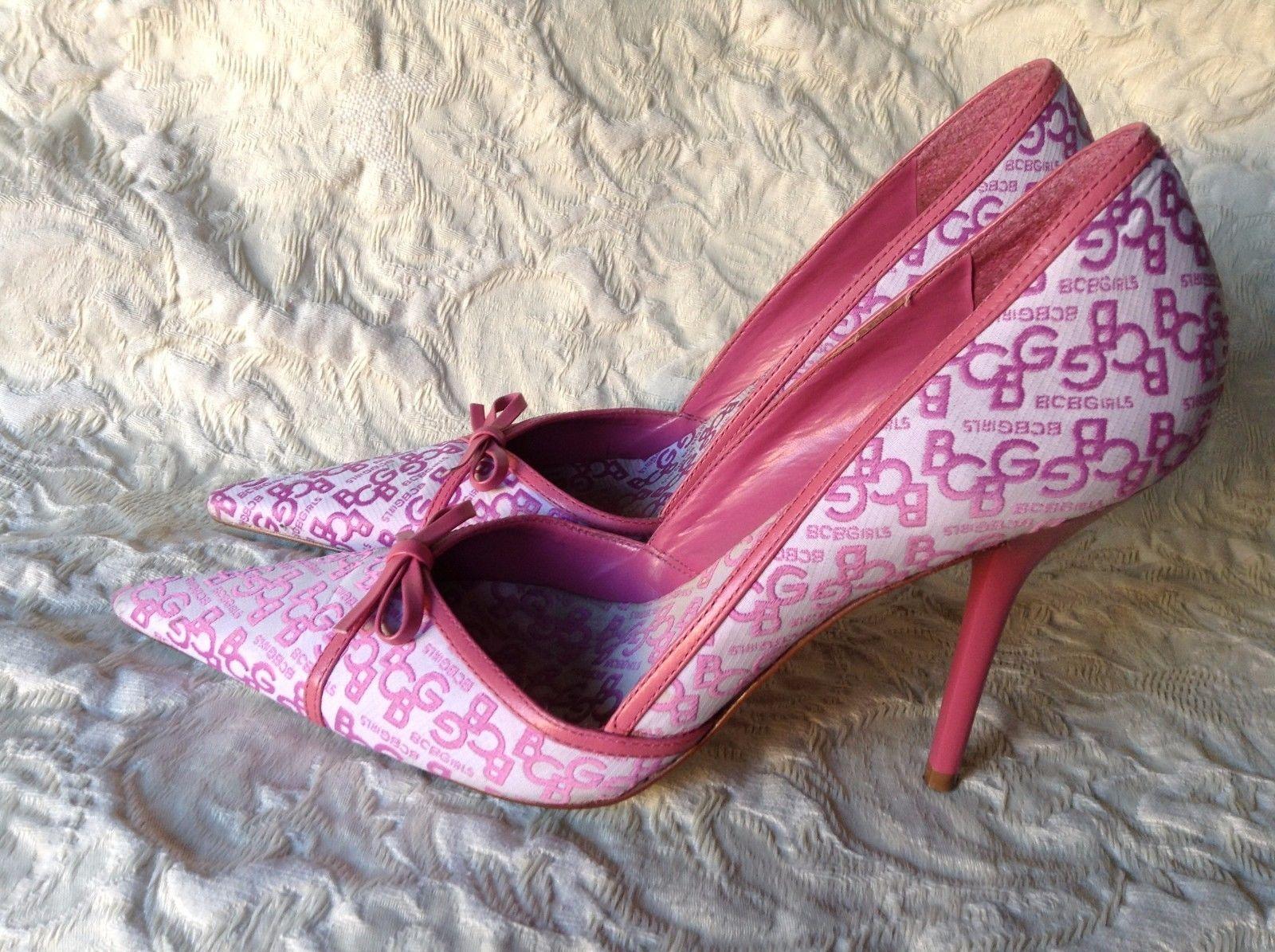 """""""BCBG"""" Pink White Pointy Toe Logo Stillietos Pink Heel"""
