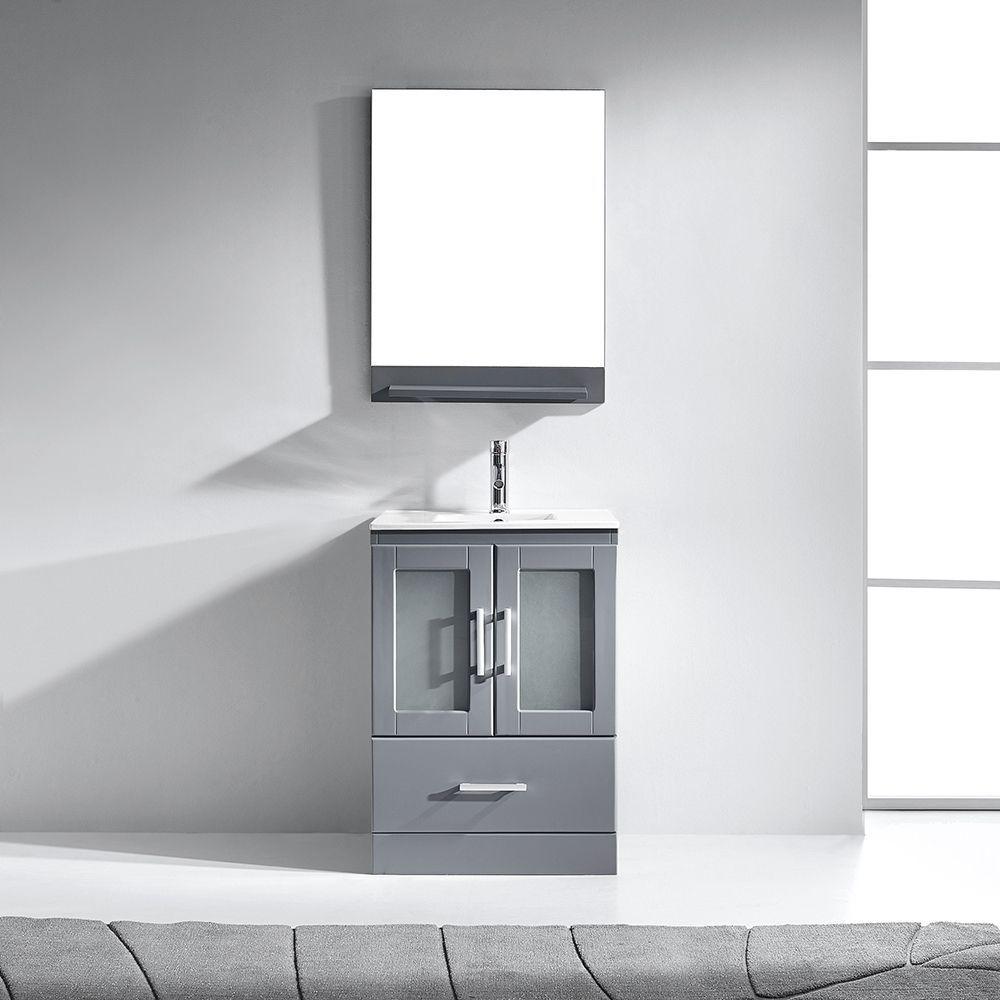 Virtu USA Zola 24-inch Single Bathroom Vanity Cabinet Set in Grey ...