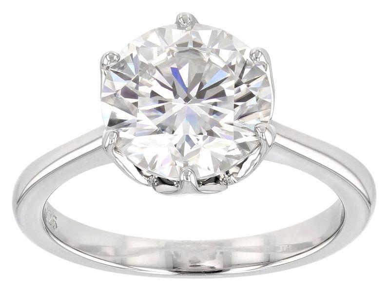 Moissanite Fire 3 10ct Diamond Equivalent Weight Round Platineve Ring Prw9821 Rings Fine Jewelry Diamond