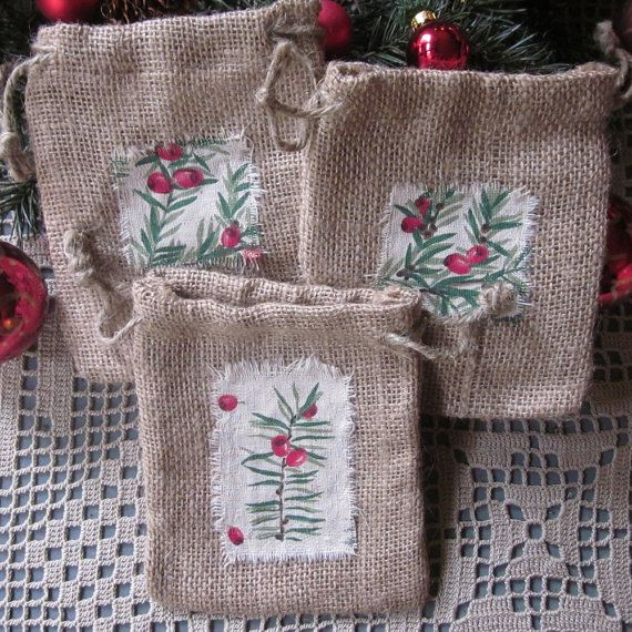 Burlap Gift Bags Three Burlap Bags Woodland by InTheBluebellWoods, $12.00