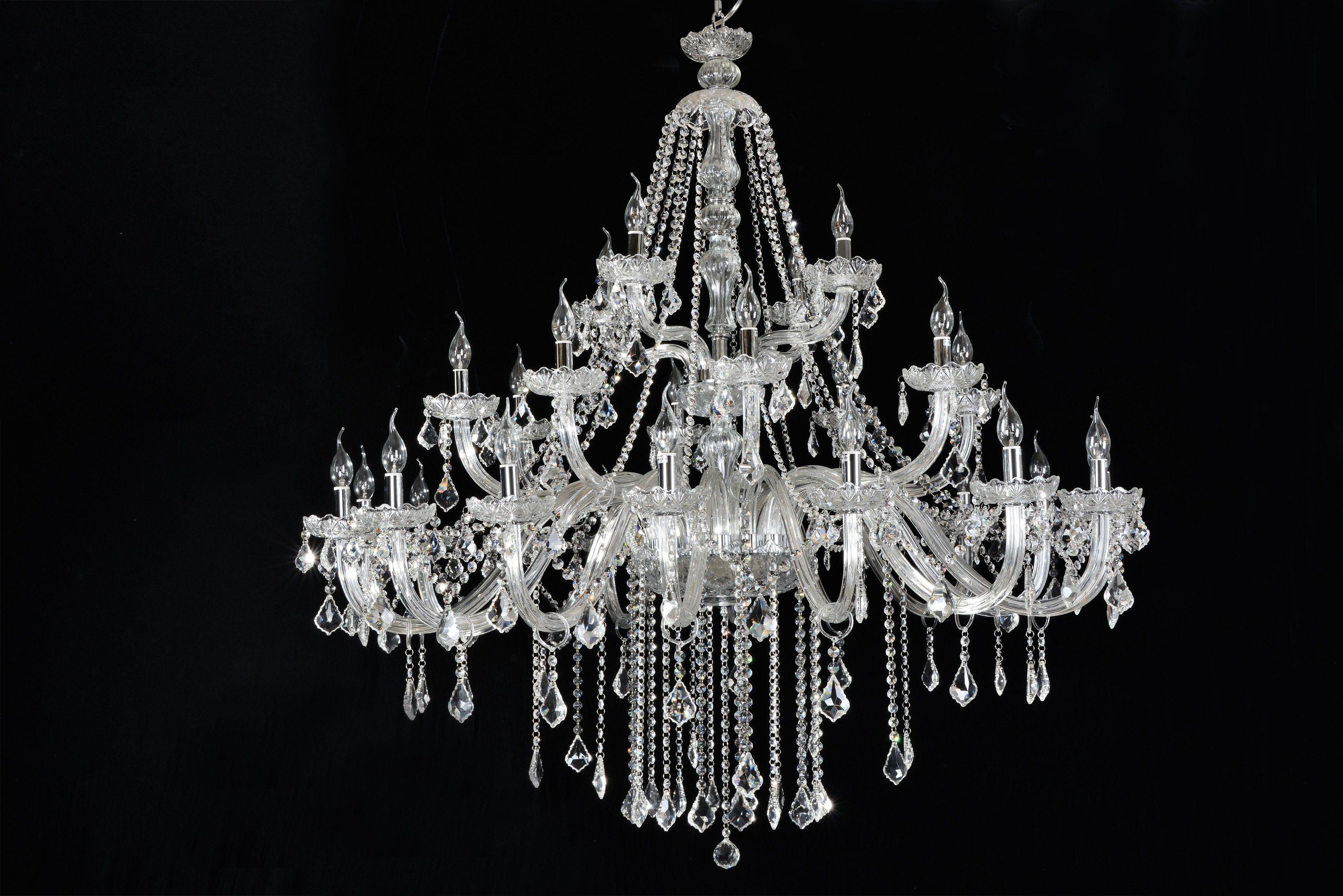 Lustre De Cristal Candelabro Maria Thereza Transparente 28 Lampadas