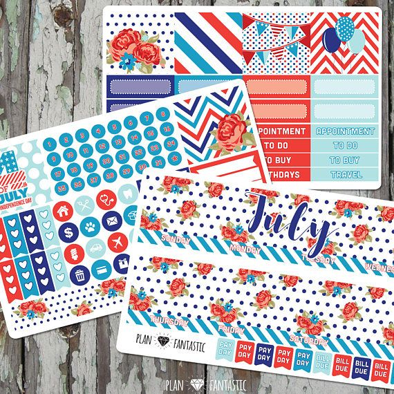 July Monthly Planner Sticker Kit - Monthly Calendar Stickers for use with ERIN CONDREN LIFEPLANNER by planfantastic