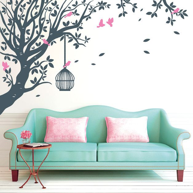 Wandtattoo   Wandtattoo Baum Mit Vögeln (2farbig)   Ein Designerstück Von  Wandtattoo Loft