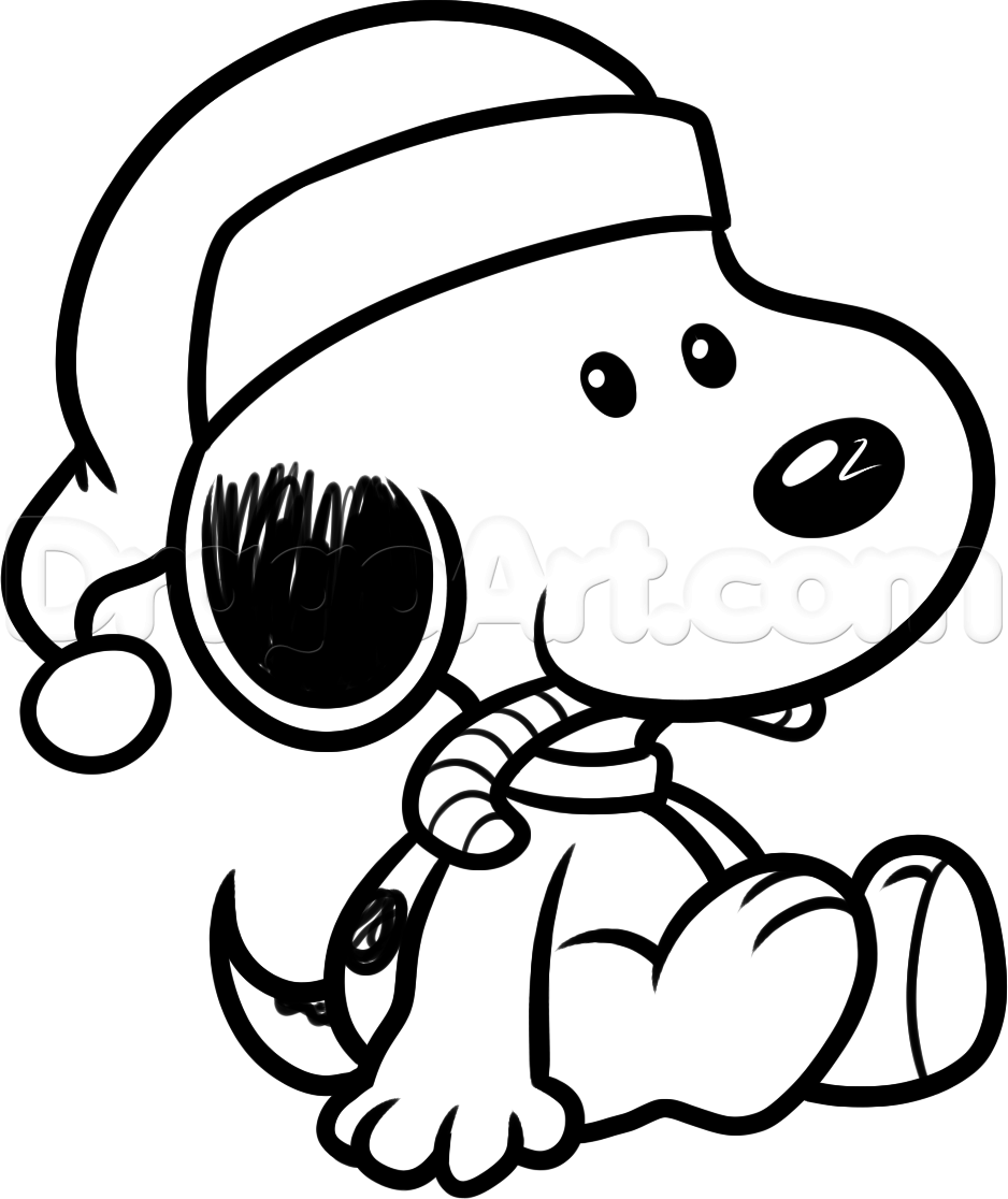 how to draw christmas snoopy step
