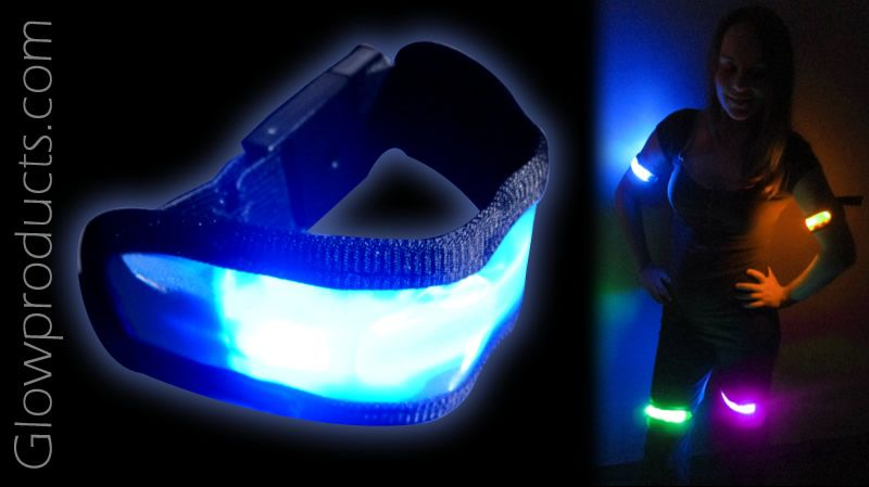 LED Safety & Sports Bands for team sports, night walks, runs or bike rides!   https://glowproducts.com/us/glowing-arm-bands