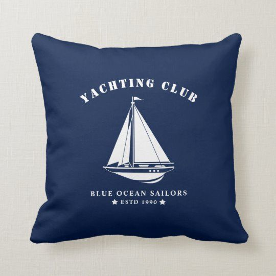 Blue nautical pillow with white sailboat badge. Beautiful decor for nautical living room, bedroom, hallway, kitchen or dining room. | #blue #white #nautical #blueandwhite #sailboat #sailing #boat #maritime #navy