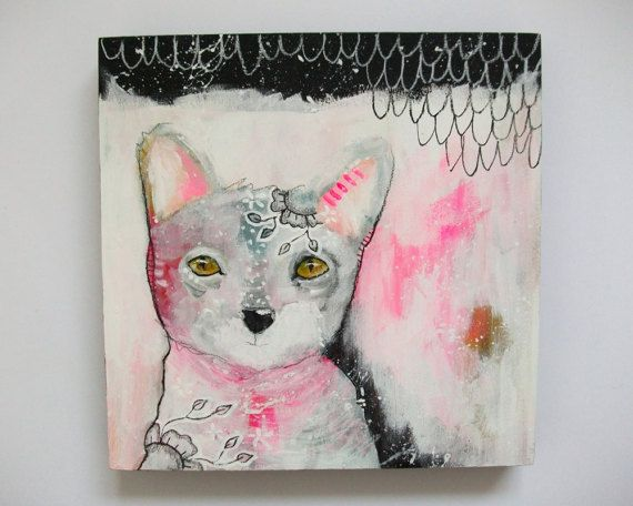 Original kitty cat painting whimsical boho by thesecrethermit