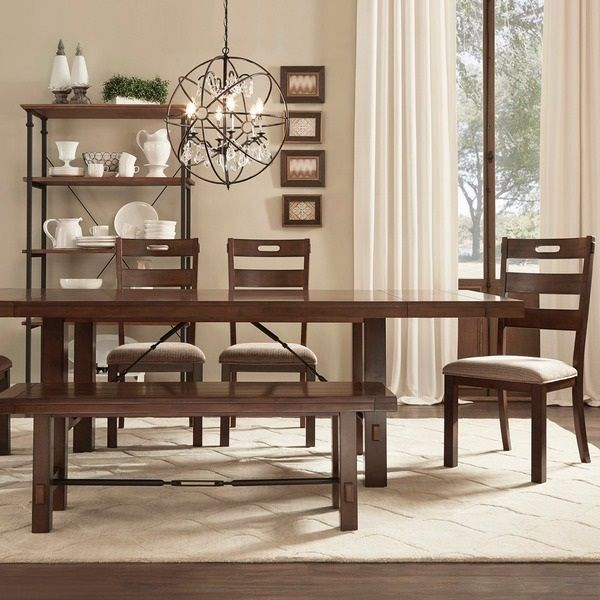 Complete Rustic Dining Room Set Table Chandler Shelf Chairs Bench