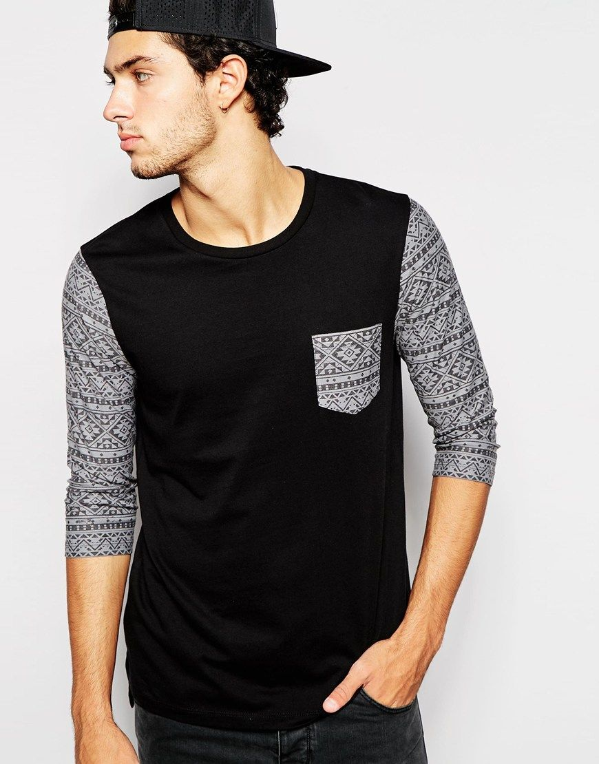 603bd287 ASOS Longline 3/4 Sleeve T-Shirt With Aztec Print Sleeve And Pocket ...
