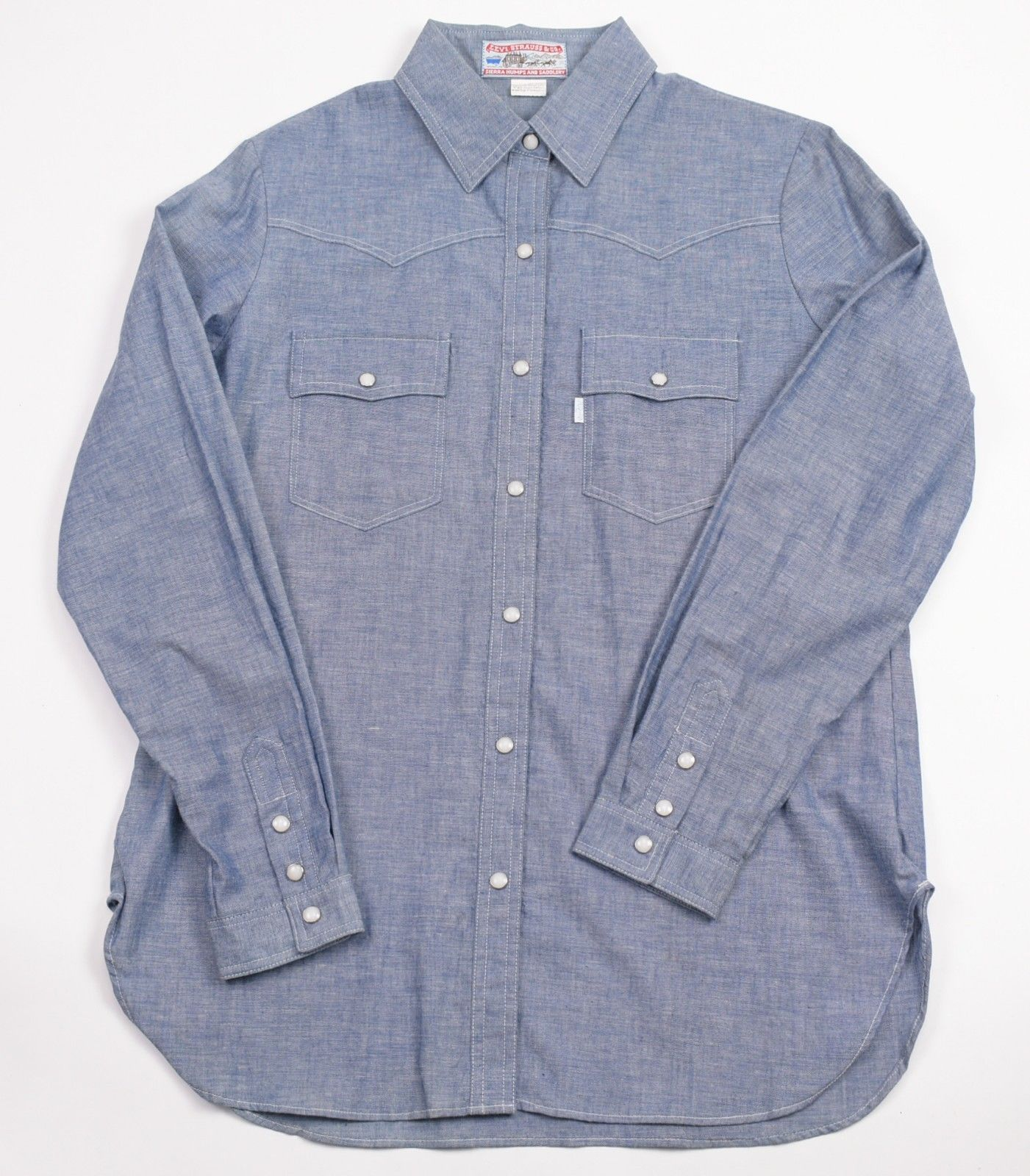 3b1d6cdb6a Vintage Levi s Strauss Co Sierra Saddlery Chambray Denim Pearl Snap Shirt  Large