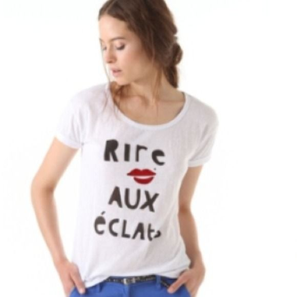 "💥Sale💥Printed Boxy Tee This scoop-neck jersey tee features a lips graphic and 'Rire aux Éclats' lettering at the front. Cuffed short sleeves. Semi-sheer. Charm necklace included.  25"" long, measured from shoulder. * Fabrication: Napped, slubbed jersey. * 65% polyester/35% cotton. Maison Scotch  Tops"