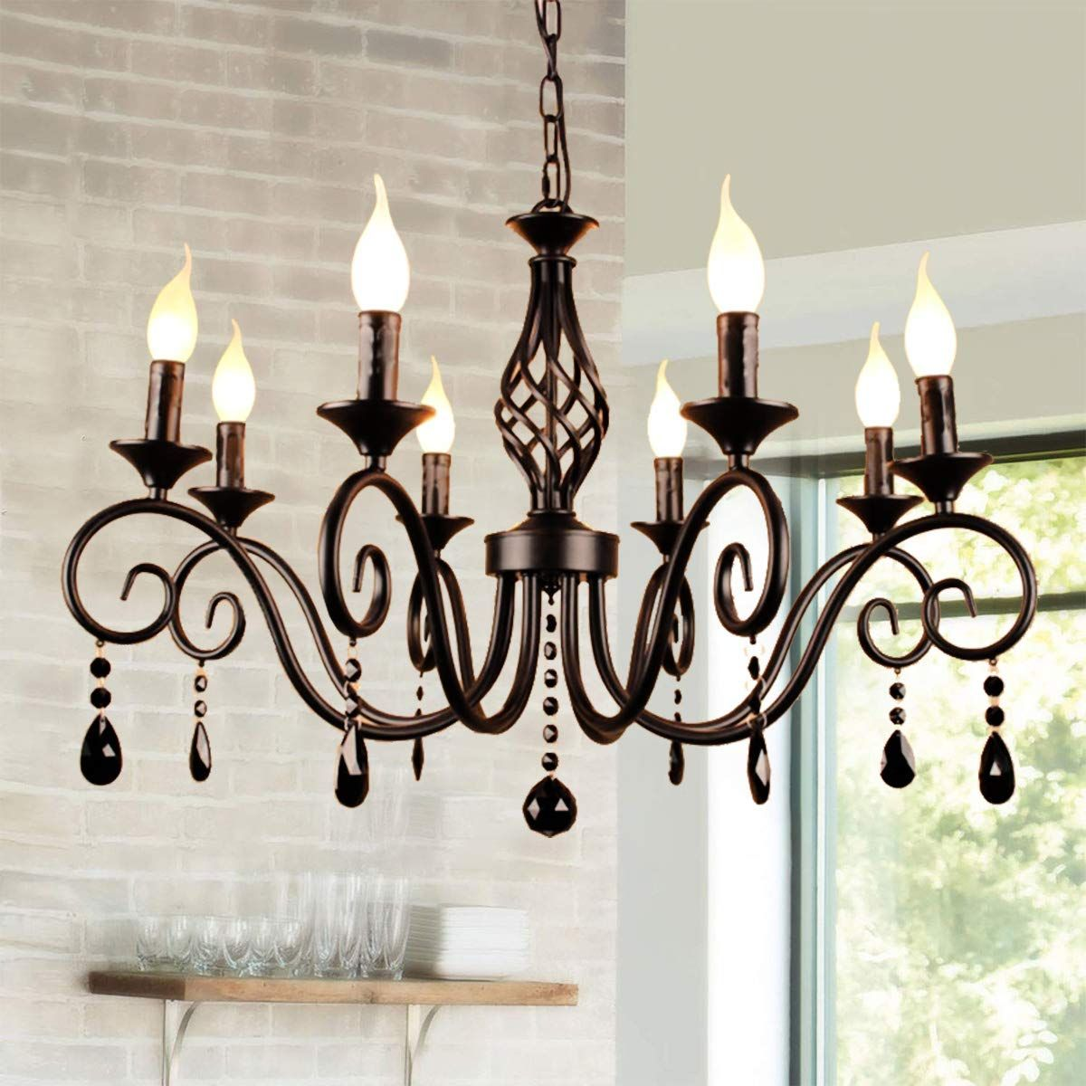 Ganeed Chandeliers,8 Light French Country Crystal Candle Chandelier,Industrial Black Vintage Pendant Light Fixture Hanging Lights for Living Room
