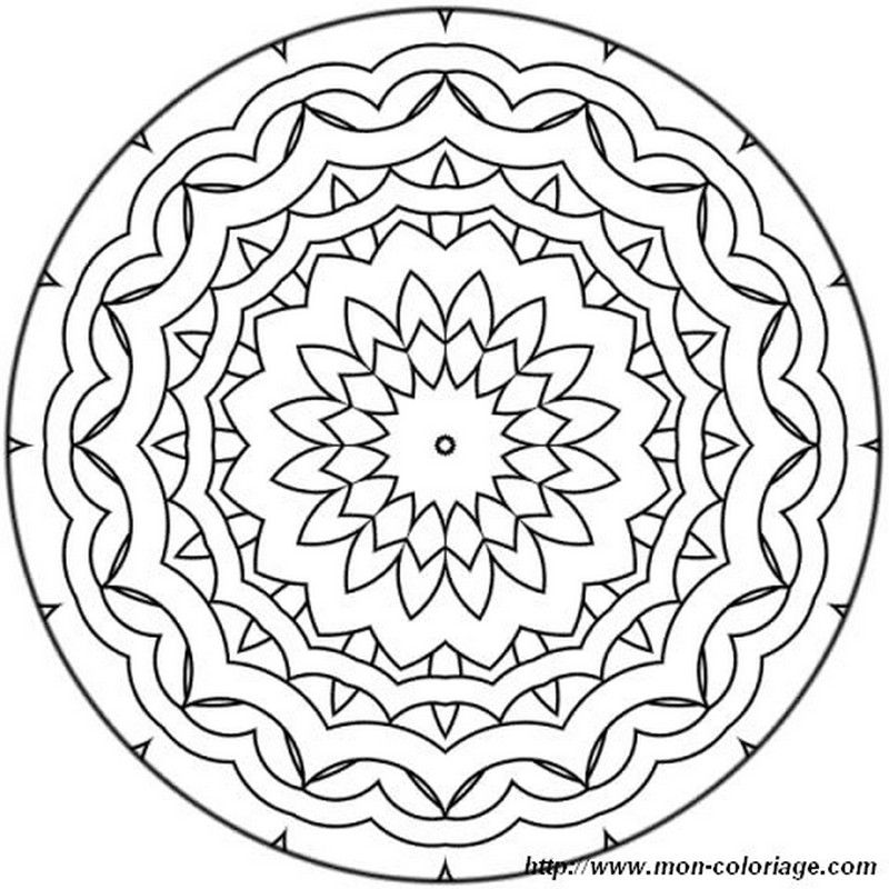 Coloriage De Mandala Dessin Mandala Moyennement Facile A Colorier