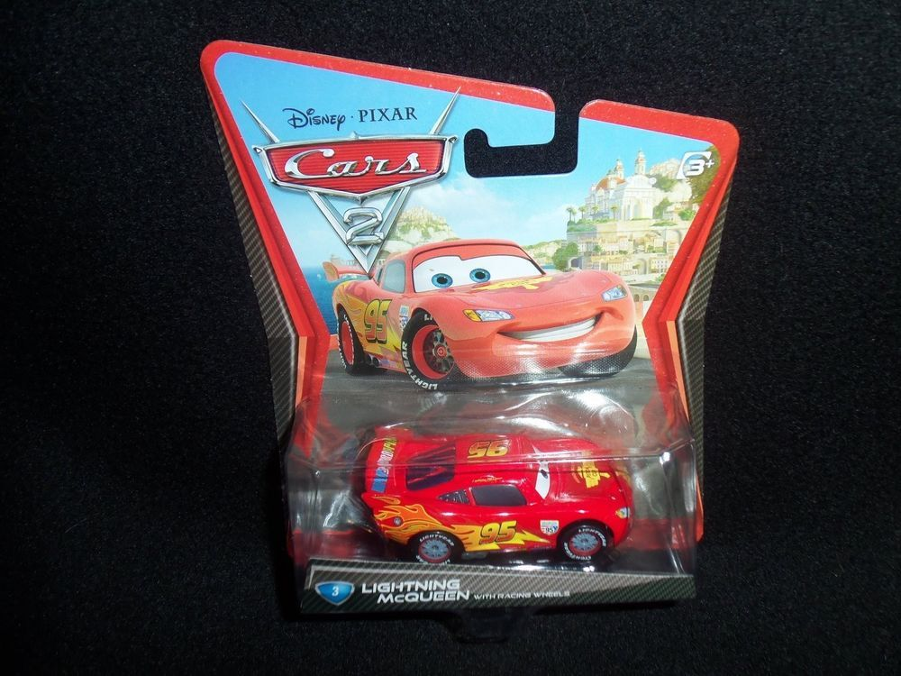 Disney Cars 2 Lightning McQueen with Racing Wheels Die