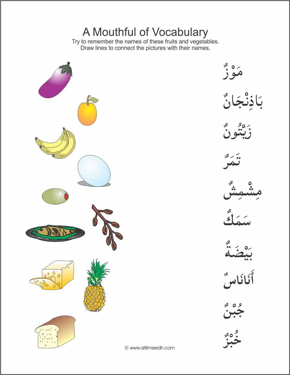 Mouthful of vocabulary image 3 arabic language pinterest recalling the vocabulary that has to do with food items students will enjoy matching the full color artwork to the names of the food items forumfinder Choice Image