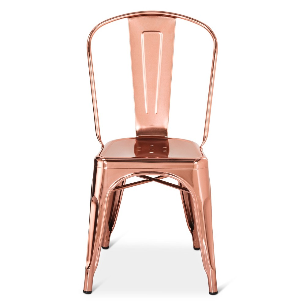 Carlisle couture high back metal dining chair rose gold