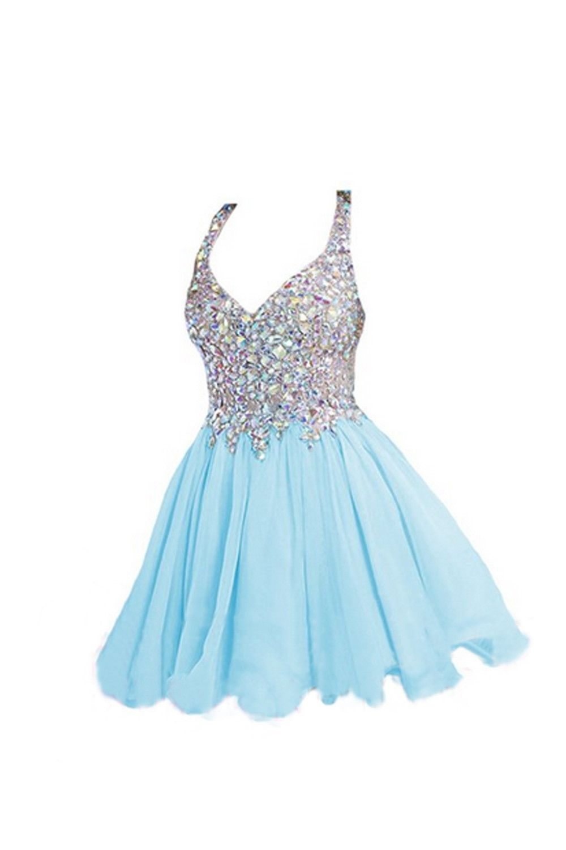 Light sky blue beaded vneck homecoming dresses dress goals
