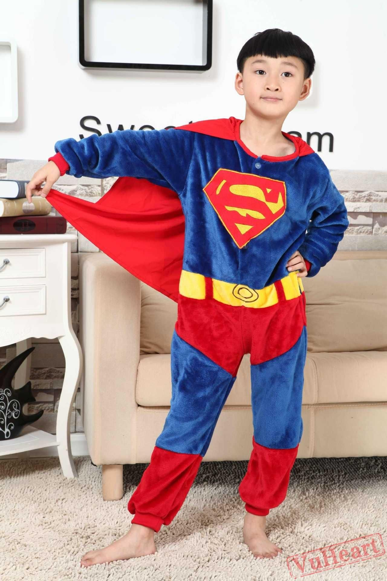 a7c5859f37 Super Hero Superman Kigurumi Onesies Pajamas Costumes for Boys   Girls  Halloween