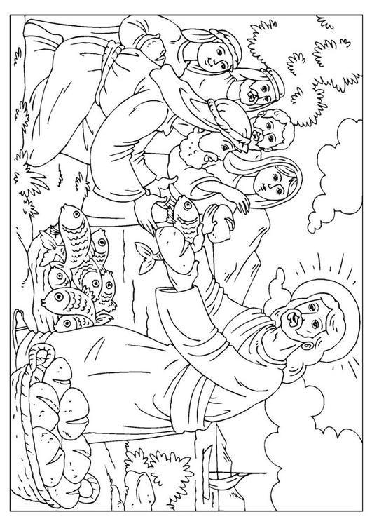 jesus verteilt brot und fisch  jesus malvorlagen bibel